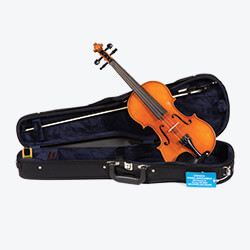 a violin proppped up at an angle sitting inside an open case
