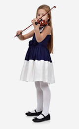 Girl playing a Violin on a white background