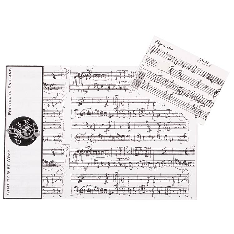 Gift Wrap, Mozart White, pack of 3 sheets and 3 tags