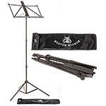 Boston Aluminum Folding Music Stand with Bag, Black
