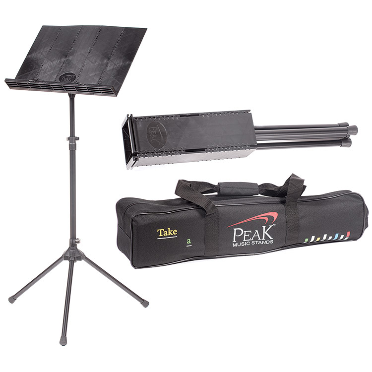 Peak SMS-20D Folding Music Stand with steel legs and carrying bag, Black