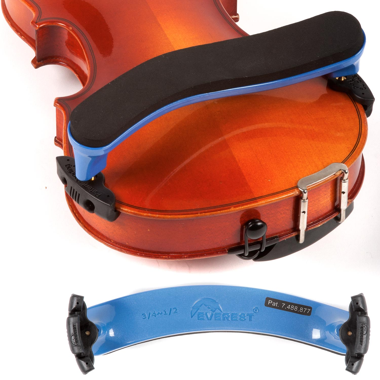 Standard Violin 3//4 and 4//4 Size Viola 12-13 Adjustable Everest Black Shoulder Rest