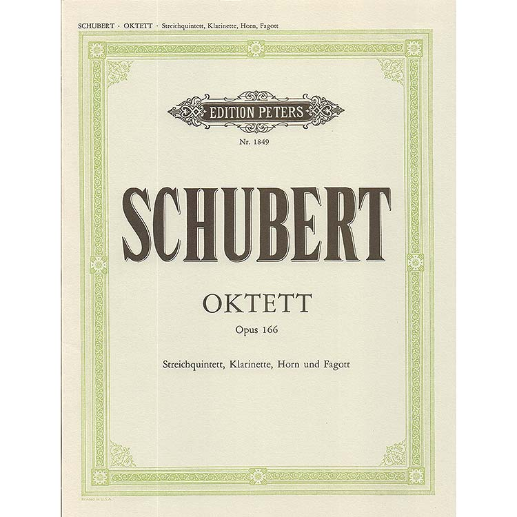 Octet, op. 166, D.803, strings & winds; Franz Schubert (Peters)