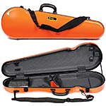 Galaxy Comet 300SL Shaped Violin Case, Orange exterior with Gray interior