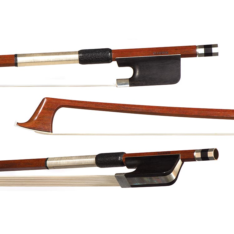 Rodney Mohr workshop silver mounted cello bow, stamped Burgette