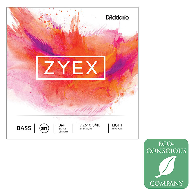Zyex 3/4 Bass String Set: Light