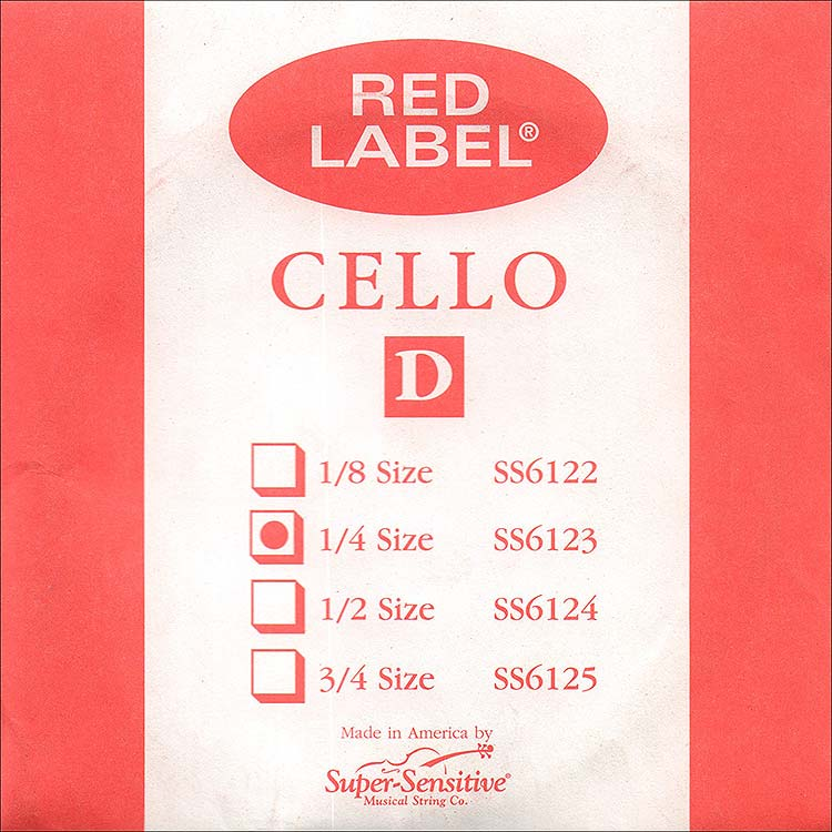 Red Label 1/4 Cello D String - nickel/steel