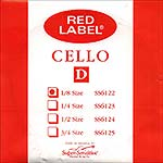 Red Label 1/8 Cello D String - nickel/steel