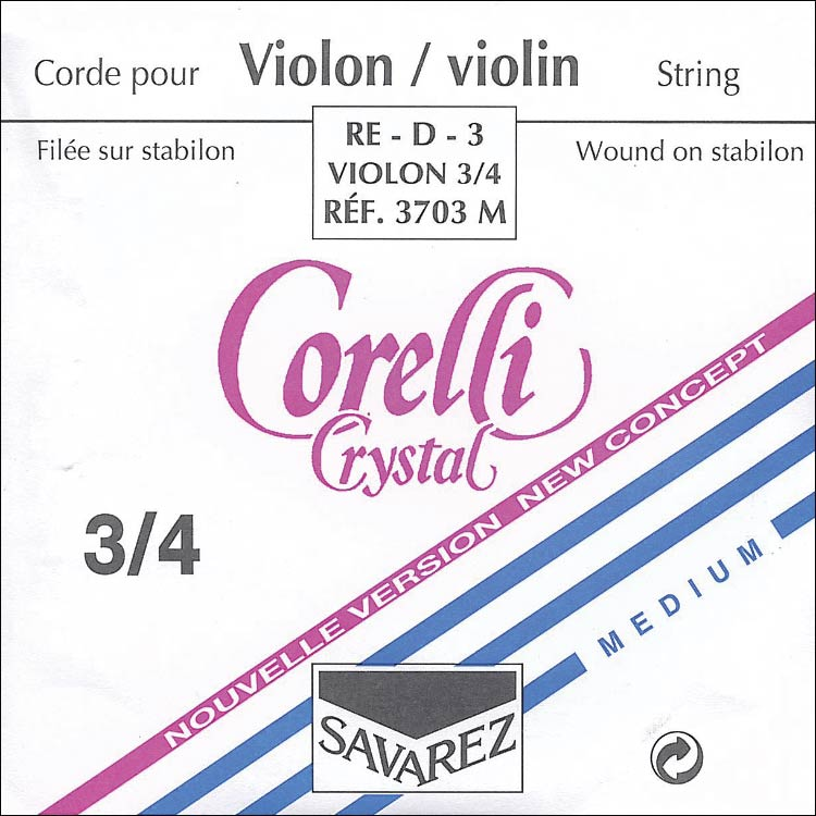 Crystal 3/4 Violin D String - alloy/stabilon: Medium