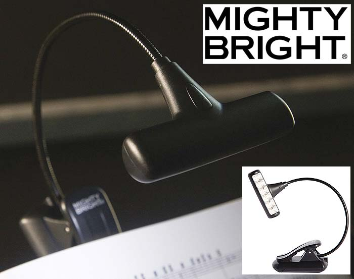 mighty bright hammerhead 6 led stand music light with case. Black Bedroom Furniture Sets. Home Design Ideas