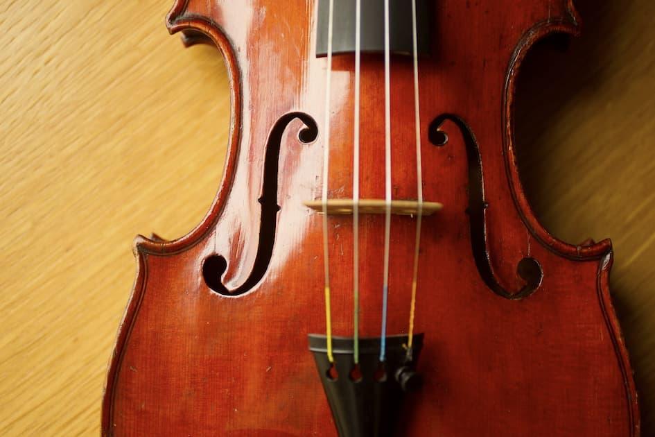 Closeup of a violin bridge