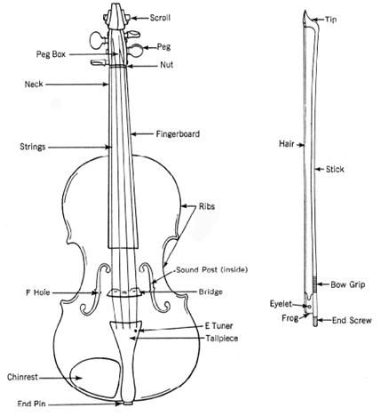 Line drawing of a violin and bow with components labled